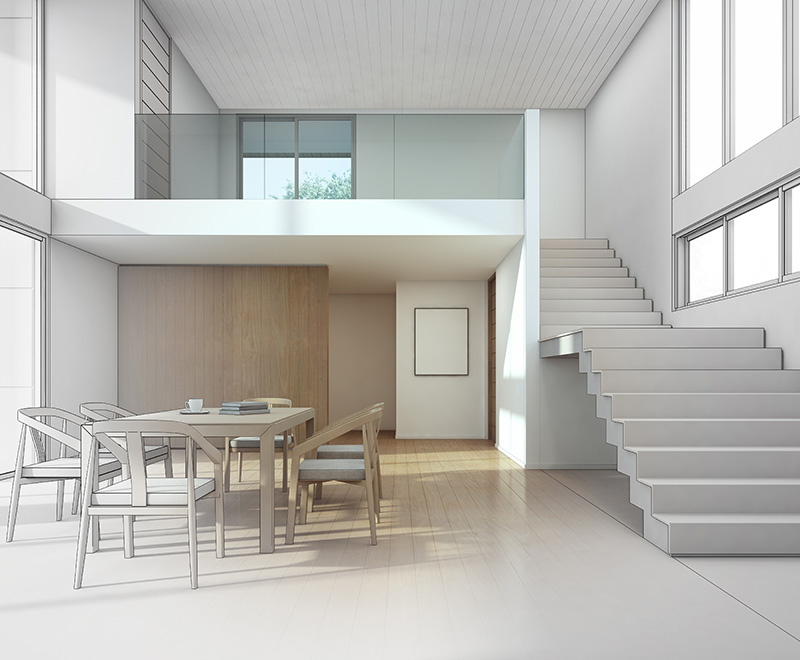 3D rendering of a home interior