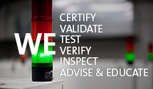 Picture of a Green and Red siren light with the words certify validate test verify inspect test and audit