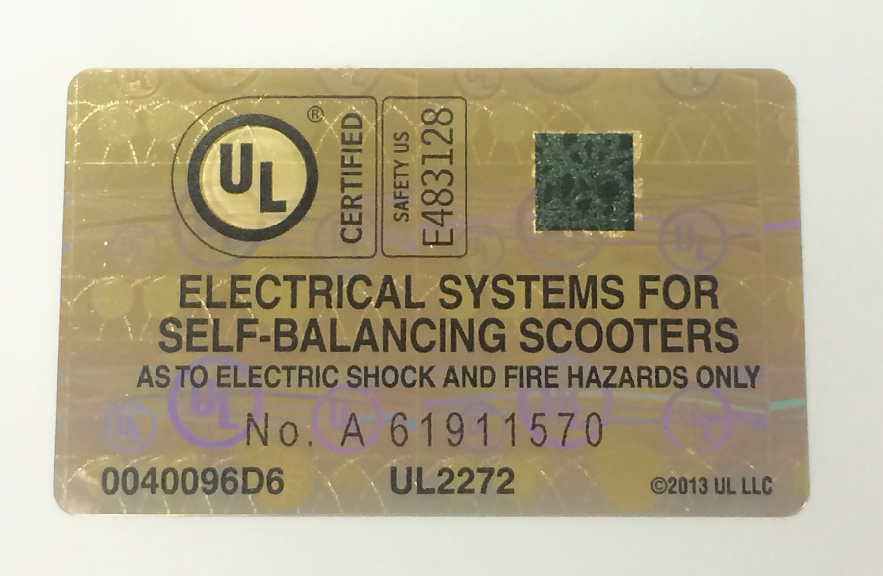 UL Hoverboard Label Image