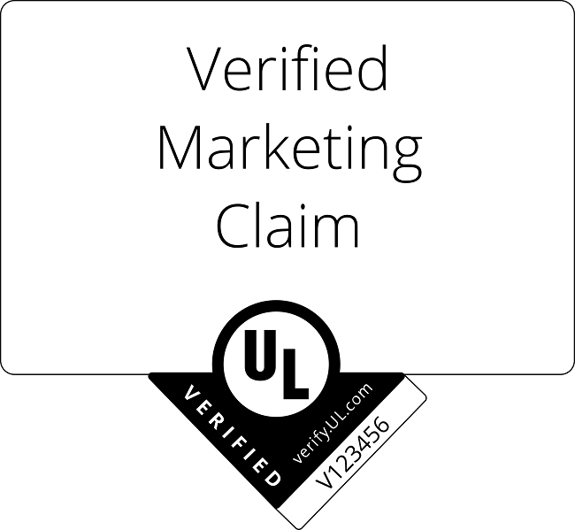 Example of a marketing claim mark, UL in black with a downward facing arrow and the words verified and a unique number in the arrow.
