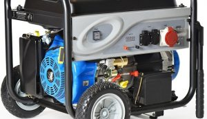 120 v portable generator with wheels prominently shown to denote portability