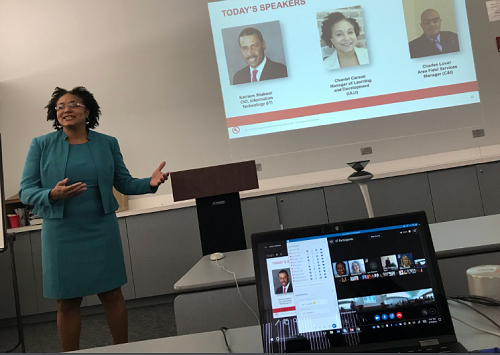 UL leader Chantel Carson speaks before black business resource group