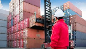 Dock workers supervising cargo container movement