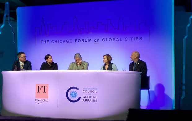 Bill Hoffman discusses sustainability on the carbon panel at the Chicago Forum on Global Cities