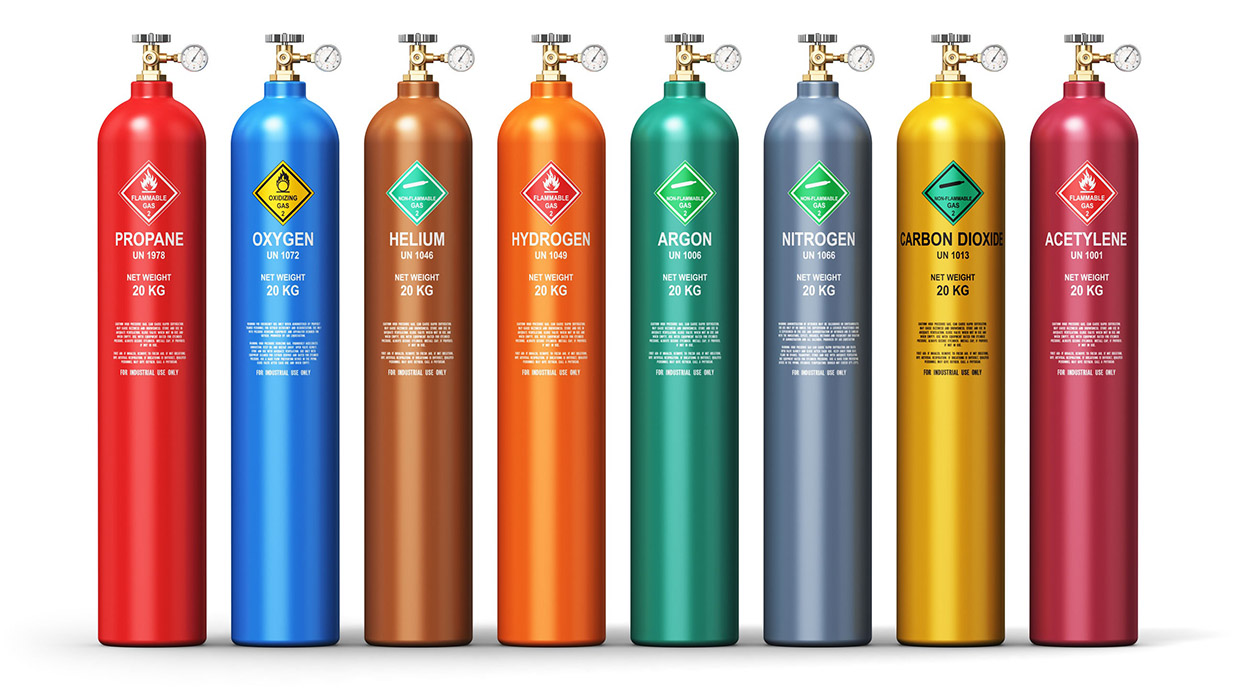 flammable refrigerants lined up in colorful row