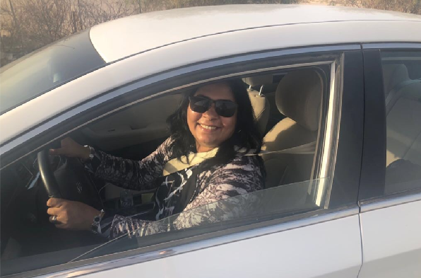 Sobha Viju celebrates Saudi Arabia policy change by driving a car in country