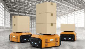 Yellow AGVs move boxes around warehouse