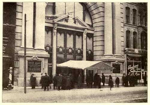 black and white exterior photo of the Iroquois Theatre 1903