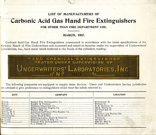 1907: The label takes on the appearance of the familiar brass plate that appears on many extinguishers from this time period.