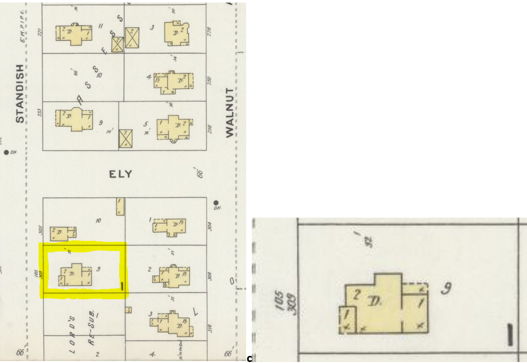 """1897 Sanborn Fire Insurance Map shows the location and layout of 309 Standish St. The Sanborn maps were coded to denote different fire-related properties of the house. The letter """"D"""" means that the building was a dwelling. The numbers inside the house show how many stories the house was, and the """"x"""" symbols denote where shingle roofing was being used."""