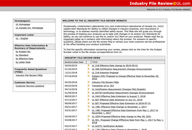 Certification Requirement Changes (Industry File Review)