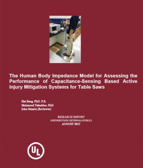 The Human Body Impedance Model for Assessing the Performance of Capacitance-Sensing Based Active Injury Mitigation Systems for Table Saws